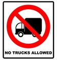 No Trucks Allowed sign isolated against a white vector image vector image