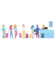 people staying and waiting in long queue vector image