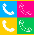 phone sign four styles of icon on vector image