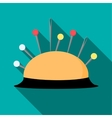 Pincushion with pins icon flat style vector image vector image