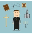 Priest and religious icons or symbols vector image vector image