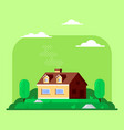 private family cottage house flat style vector image vector image