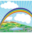 Rainbow above earth vector image vector image