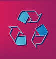 recycle logo concept blue 3d printed icon vector image vector image