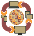 Responsive Web Design Template Purple vector image vector image
