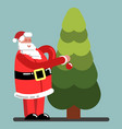 santa adorns a new year tree vector image vector image