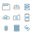set data storage and processing icons vector image vector image