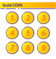 set gold coin icon vector image