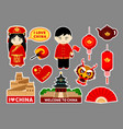 set of chinese travel stickers vector image vector image