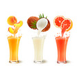 set of fruit juice splash in a glass peach vector image vector image