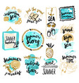 set of hand drawn watercolor signs of summer vector image vector image
