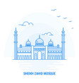 sheikh zahid mosque blue landmark creative vector image