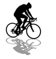 silhouette of a cyclist male on white background vector image vector image