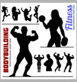 silhouettes of bodybuilders and fitness girls vector image