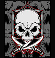 skull with cross sword hand drawing vector image vector image