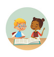 smiling multiracial boy and girl reading books and vector image vector image