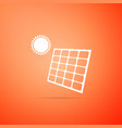solar energy panel icon on orange background vector image
