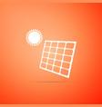 solar energy panel icon on orange background vector image vector image