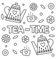 tea time coloring page vector image vector image