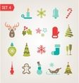 Vintage Christmas icons vector image vector image