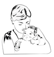 Woman with child scetch vector image