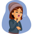 woman with respiratory disease coughing vector image