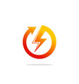 round arrow light bolt danger logo vector image
