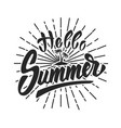 hello summer hand drawn lettering phrase isolated vector image
