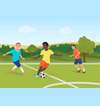 the people playing football in the field stadium vector image