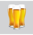 Excellent Realistic Isolated 3 glasses of beer vector image