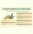 10 health benefits hemp seeds infographic vector image vector image