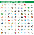 100 presentation icons set cartoon style vector image vector image