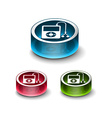 3d glossy musical player icon vector image vector image