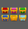 a set brightly colored gold soft chests for the vector image vector image