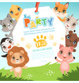 animals kids invitations cute funny jungle vector image