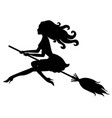 beautiful halloween witch silhouette vector image vector image