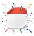 blank realistic calendar icon on festive vector image vector image