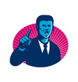 blue businessman politician pointing retro vector image vector image