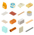 Building materials icons set isometric style