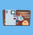 business man and woman creative team standing in vector image vector image