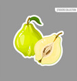 cartoon fresh quince fruit isolated sticker vector image