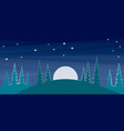 cartoon mountain landscape with pine trees vector image