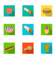 chicken food snack and other web icon in flat vector image vector image