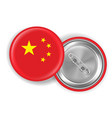 china flag round steel pin brooch vector image