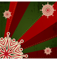 Christmas Snowflake on Green Red Retro Background vector image vector image