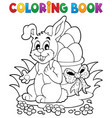 coloring book easter bunny 1 vector image vector image
