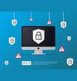 computer shield and alert line icon internet vpn vector image