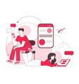 couple chatting linear color social vector image vector image
