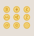 cryptocurrency coin set bitcoin digital currency vector image vector image