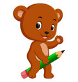cute bear riding big pencil vector image